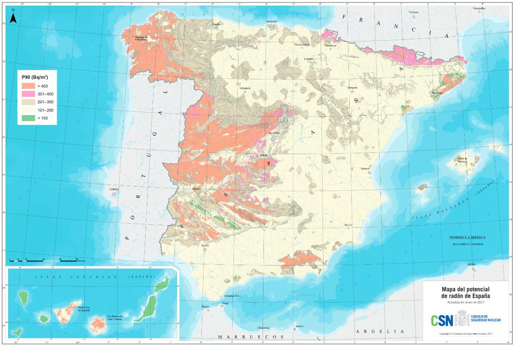 Mapa del potencial de radón en España. Fuente: Consejo de Seguridad Nuclear (CSN).